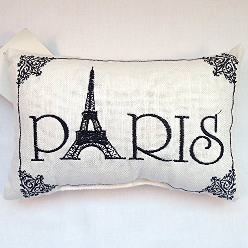 'Paris' - Small/Cute Embroidered Accent 'Pillow' (5 1/2' x 8 1/2')