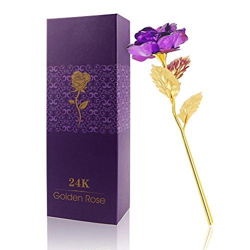 AEUWIER Flor Rosa de Oro de 24 Quilates con Caja de Regalo, Tallo Largo Lámina de Oro Artificial Forever Rose Regalo romántico para el día de San Valentín, día de la Madre, cumpleaños-Púrpura