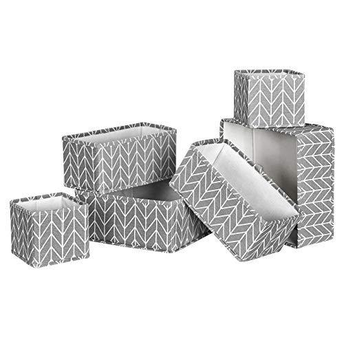 SONGMICS Aufbewahrungsboxen für Schublade, 6er Set, Unterwäsche-Organizer, Schubladen-Organizer, faltbare Stoffbox für Socken, Unterwäsche, BHs, Krawatten und Schals, grau RTDZ06G