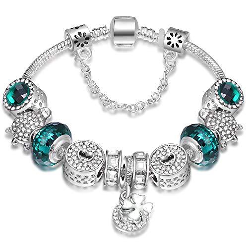ATE Charm Pulsera Abalorios Cristales con Cadena Seguridad Regalo para Mujeres JWB19