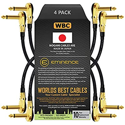 4 Units -Mogami 2319-30 cm (12 Inch) -Instrument Effects Patch Cable With Gold Plated, Low-Profile, Right Angled Pancake Type TS (6.35mm) Connectors
