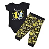 Unique Baby Unisex My 1st New Years Baby Outfit Layette Set (Newborn) Black