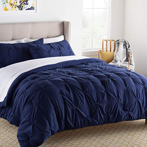LINENSPA All- Season Hypoallergenic - Plush Microfiber Fill - Machine Washable Alternative Comforter, Oversized Queen, Navy Pinch Pleat