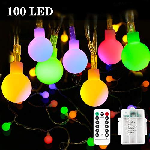 Batterie-Lichterkette – Outdoor Lichterkette [Fernbedienung & Timer] 10 m 100 LEDs 8 Modi wasserdicht batteriebetrieben Lichterkette für Dekorationen Weihnachten, Mehrfarbig, 1