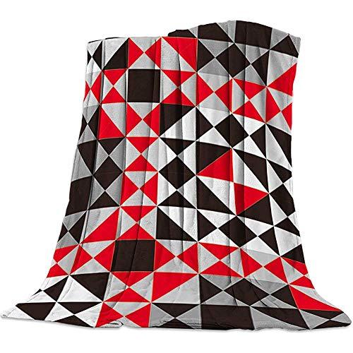 Nazi Mie Throw Blanket Gemütliche Decke - Alle Jahreszeiten - Dreieck Geometrisches Mosaik Design Schwarz Rot