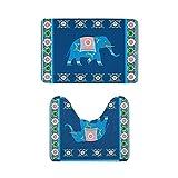 Juego de 2 alfombras de baño de franela suave, antideslizantes, juego de alfombrillas de baño superabsorbentes + alfombrilla de baño en forma de U, elefante hindú indio, patrón tradicional The Arts