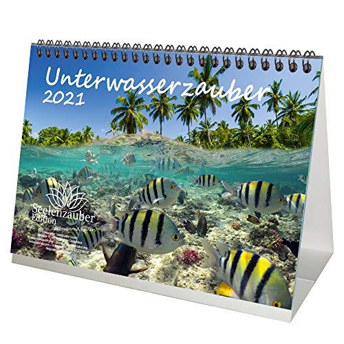 Unterwasserzauber DIN A5 Tischkalender für 2021 Unterwasser - Geschenkset Inhalt: 1x Kalender, 1x Weihnachtskarte (insgesamt 2 Teile)