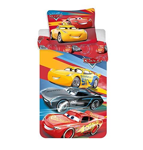 Jerry Fabrics Cars red 02 Bett, 1, Rot, Gelb, Blau, Schwarz, One Size 140x200 + 70x90 cm
