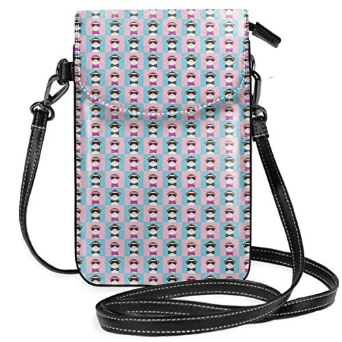 Women Small Cell Phone Purse Crossbody,Cartoon Style Image Of Female And Male Animal With Funny Accessorizes In Squares