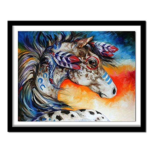 mgrlhm Diamante Pintura DIY 3D Diamante Pintura Diamante Bordado Punto de Cruz Animal Completo Diamante Redondo Amazon Horse Frameless-58x80