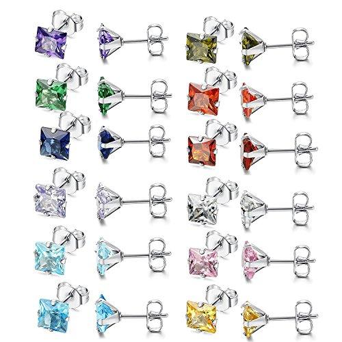 Flongo Pendientes para mujer, 24 unidades, acero inoxidable, pendientes plateados, cuadrados, circonitas, encantadores, elegantes, juego de 12 pares