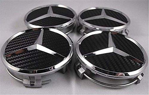 GHJHHJHJ 4X Mercedes Benz AMG Black Carbon Center Wheel Hub Caps 75MM C E GLK G