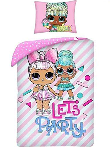 Halantex Ropa de cama LOL Surprise Let's Party ropa de cama infantil 2 piezas, cama de 140 x 200 + 70 x 90 cm, funda de almohada rosa, algodón Öko-Tex
