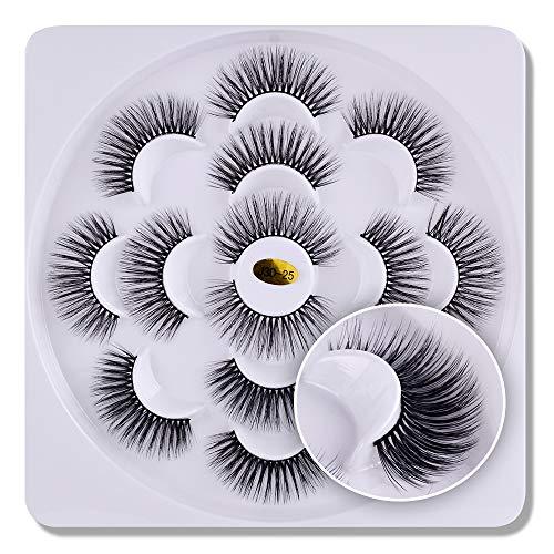 7 paires 3D cils vison Fluffies à la main Wispies Styles mélangés Naturel Longs Faux Cils(03)