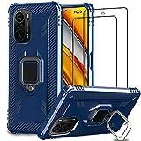 IMBZBK Kompatibel mit Xiaomi Poco F3 Hülle + [2 Stück] Xiaomi Poco F3 Panzerglas Schutzfolie, [360 Grad Drehung Fingerring Ständer] [Military Grade Schutz] Silikon TPU-Gehäuse-Blau