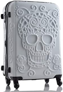 "Trolley case Travel Suitcase Original 3D Trunk Travel Luggage Cool Skull Luggage Suitcase (Color : Ivory, Size : 20"")"