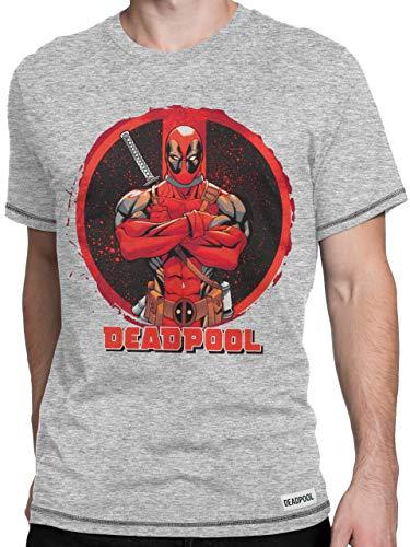 Marvel Camiseta para Hombre Deadpool Gris Large