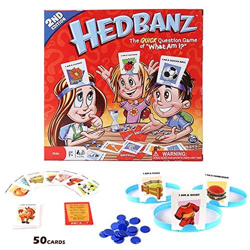Juego HedBanz, Juego de adivinanzas con Varios Elementos Personajes, para niños y Adultos, de 7 años en adelante (What Am I?)