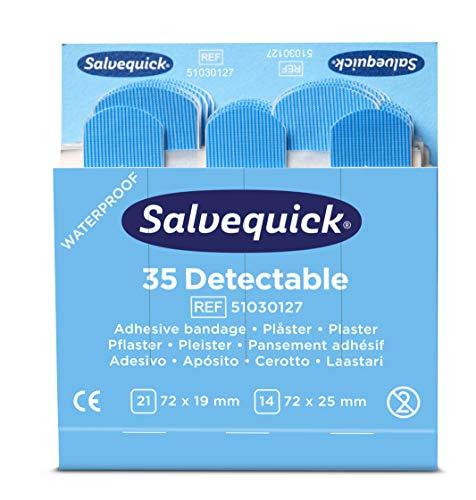 Salvequick®   Apósitos Blue Detectable   Apósitos detectables por la mayoría de detectores de metales   Apósitos azules diseñados para uso en hostelería y el sector alimentario   210 apósitos por caja