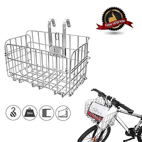 MATHIDA Cestino per bici,Cestino per Bicicletta elettrica,Cestino Pieghevole per Bici,Cestino Multiuso per Biciclette per Animali Domestici,per diverse biciclette pieghevoli e mountain bike. (Argento)