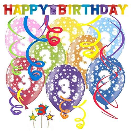 Libetui 3.Geburtstag Dekoration Geburtstag Deko-Set 'Stern' Happy Birthday farbenfrohe Partykette Bunte Girlande Spirale Luftballons und Geburtstags-Kerzen DREI Jahre