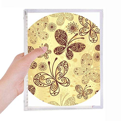 Yellow Butterfly Wallpaper Notebook Loose-leaf Spiral Refillable Journal