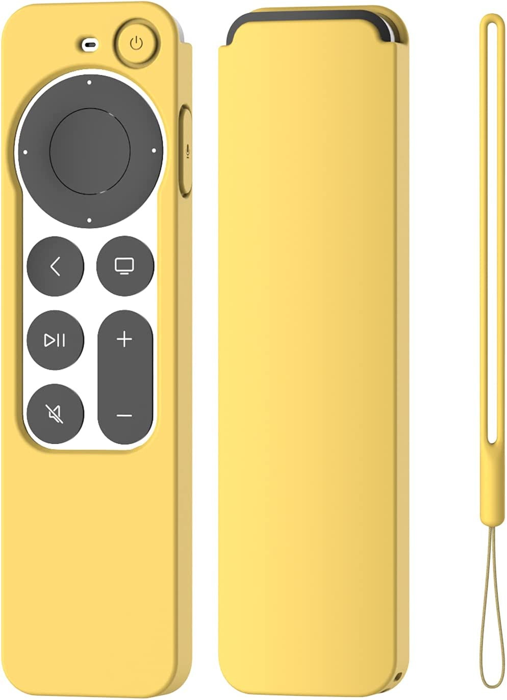 K TOMOTO Compatible with Apple TV 4K Siri Remote Case 2021, Silky-Soft Anti-Slip Protective Silicone Cover for Siri Remote Control 2nd Generation [Lanyard Included], Yellow