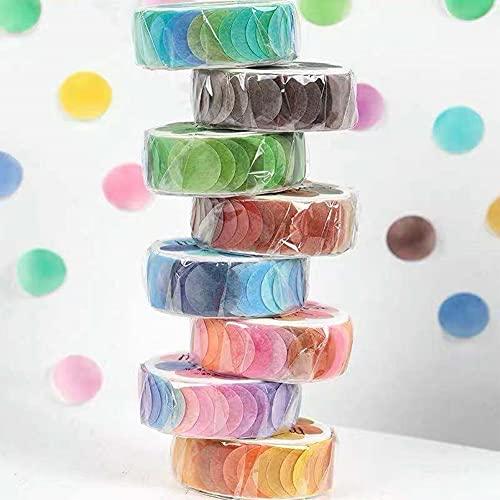 Delicacy Pegatinas Cinta Washi, 8 Rollos Washi Tape Set de Colores Adhesivos de Cinta de Papel Redondos Cinta Decorativa para Scrapbooking DIY Manualidades
