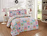 Luxury Home Collection Kids/Teens/Girls 5 Piece Twin Size Comforter Bedding Set/Bed in A Bag with Sheets Multicolor Patchwork Flowers Chirping Birds Hearts Owls Butterflies Blue Pink Orange Green