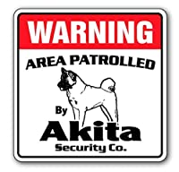 Warning ドッグセキュリティーボード 犬がいます 猛犬注意 看板 (秋田犬, (25.4cm))