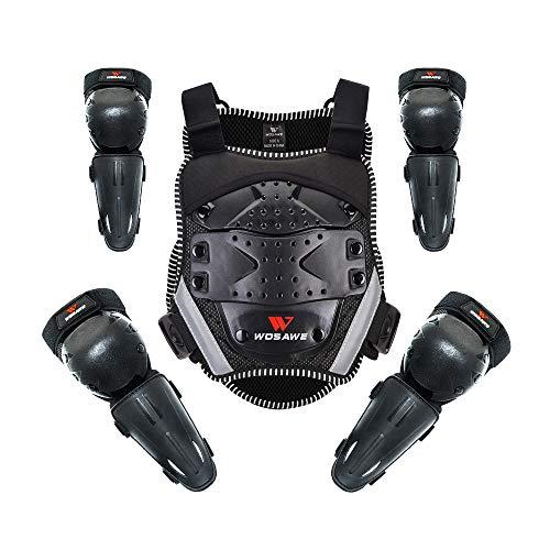 WOSAWE Kinder-Schutzkleidung mit Knieschoner Ellenbogenschoner Schutz Weste Motorrad Ganzkörperschutz Rüstung für Ski Snowboard Motocross Sport (Neu Style1)