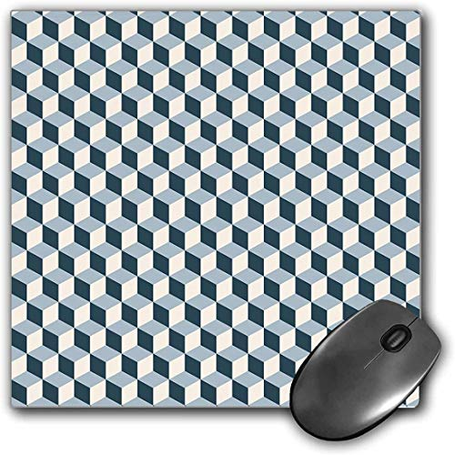 Mouse Pad Gaming Functional Retro Thick Waterproof Desktop Mouse Mat 3D Style Cubes Squares Pattern Geometric Old Fashioned Abstract Futuristic,Blue Light Blue White Non-slip Rubber Base