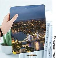 IPad 2/3/4 ケース 超薄型 超軽量 TPU ソフトスマートカバー オートスリープ機能 衝撃吸収 2つ折りスタンドApple iPad 4世代、新iPad 3(3rd Gen)&iPad 2ロンドンイギリス都市景観夜景とタワーブリッジランドマーク都市の夕日