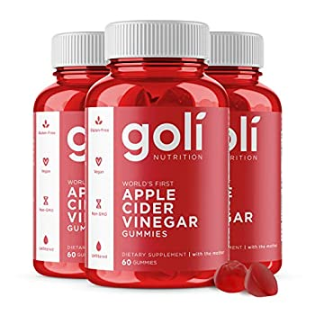 Apple Cider Vinegar Gummy Vitamins by Goli Nutrition - Immunity Detox & Weight  3 Pack 180 Count with The Mother Gluten-Free Vegan Vitamin B9 B12 Beetroot Pomegranate