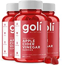 Apple Cider Vinegar Gummy Vitamins by Goli Nutrition - Immunity, Detox & Weight (3 Pack, 180 Count, with The Mother, Gluten-Free, Vegan, Vitamin B9, B12, Beetroot, Pomegranate)