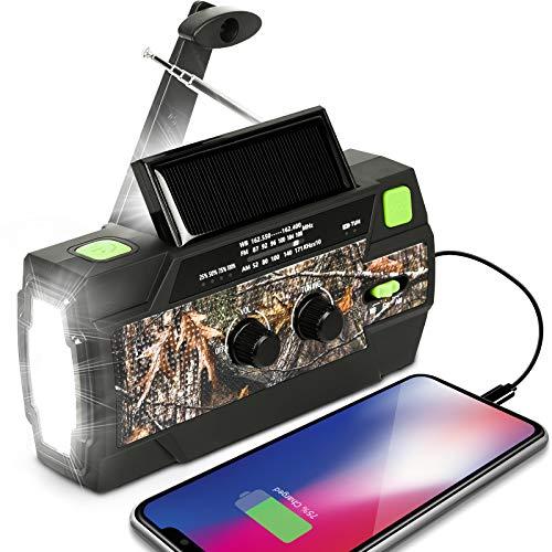 LOOGU Emergency Solar Hand Crank Portable Radio AM/FM NOAA Weather 4000 mAH Battery Powered Radio with 3 LED Flashlights Motion Sensor Reading Lamp SOS Alarm for Home and Outdoor