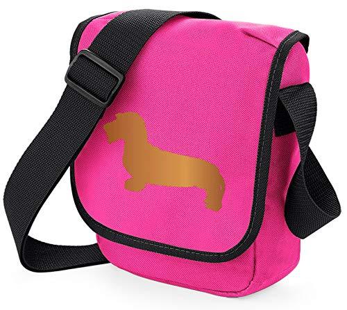 Dackel Hundetasche Reporter Tasche Schultertasche Dackel Draht Haired Silhouette Dackel Wurst Hund Geschenk Farbauswahl, Pink - Hundetasche, rosafarben, Rot - Größe: Small/Medium
