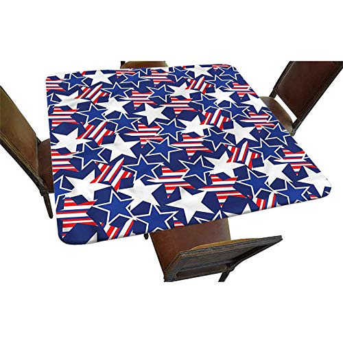 Decorative Elastic Edged Square Fitted Tablecloth,Stars and Stripes Polyester Indoor Outdoor Fitted Table Cover for Buffet Table, Parties, Holiday Dinner, Wedding & More Fit Square Table up to 36'