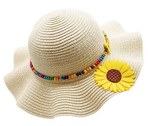 Kids Girls Multi-Colors Large Brim Flower Beach Sun Hats,BeigeYellow
