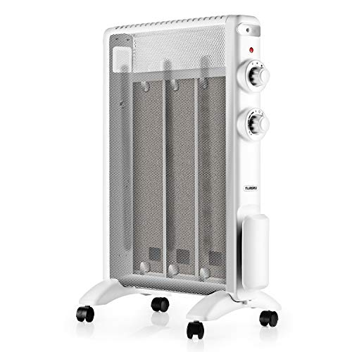 TURBRO Arcade HR1015 Electric Mica Heater 1500W, ETL & CA Prop 65 Certified Micathermic Flat-Panel Heater with Adjustable Thermostat, Quiet for Home and Office 120V (White) Heater Oil Space