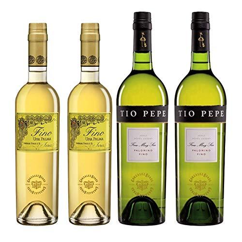 Vinos Fino Una Palma y Tio Pepe - D.O. Jerez - Mezclanza Gonzalez Byass (Pack de 4 botellas)