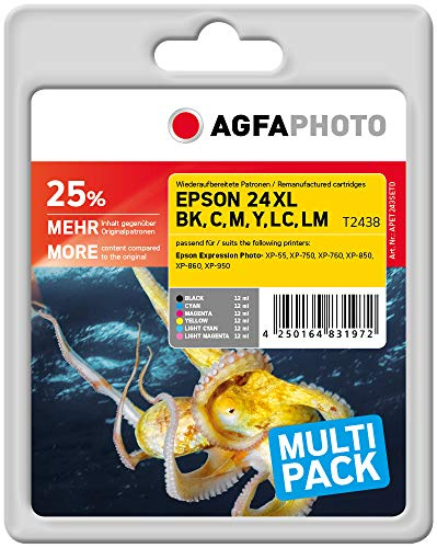 AgfaPhoto APET243SETD Remanufactured Tintenpatronen Pack of 1, schwarz, Cyan, Magenta, gelb, Light Cyan, 13.5 x 10.8 x 7.2