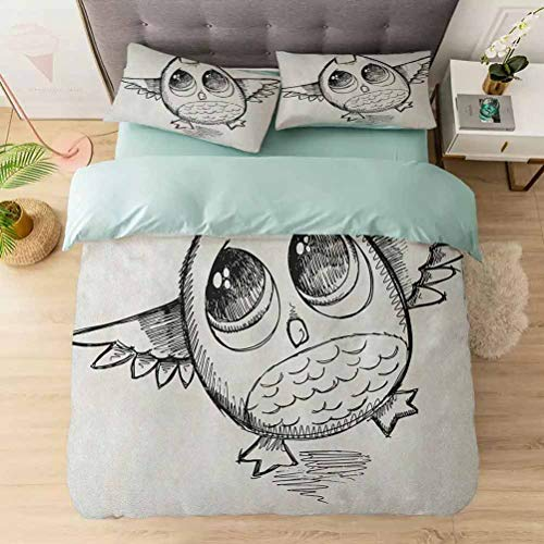 Aishare Store Bedding Duvet Cover Set, Sad Owl Almost Crying with Big Eyes Cartoon Sketch Crybaby Hand Drawn Il, Soft Lightweight Microfiber 1 Duvet Cover and 2 Pillowcases, Black White