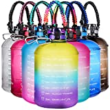 AMITER Gallon Motivational Water Bottles with Time Marker, Paracord Handle(Compasses, Flint, Whistles), One Key Open Lid & Straw, BPA Free Leakproof Sports Water Jug for Gym, Office, Home and Outdoor