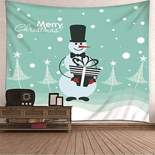 BATOHOME Navidad Manteles, Tapiz Pared Niña Monigote de Nieve Tapices Yoga, Tela Tapiz Pared 150x130CM