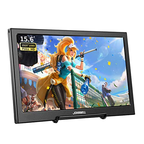 JOHNWILL Gaming display monitor portable 15.6' IPS Screen Full HD 1920x1080 ultra thin black metal shell Built-in Speaker,Compatible with Laptop,PC,PS4, PS3, Xbox Ones,Raspberry Pi