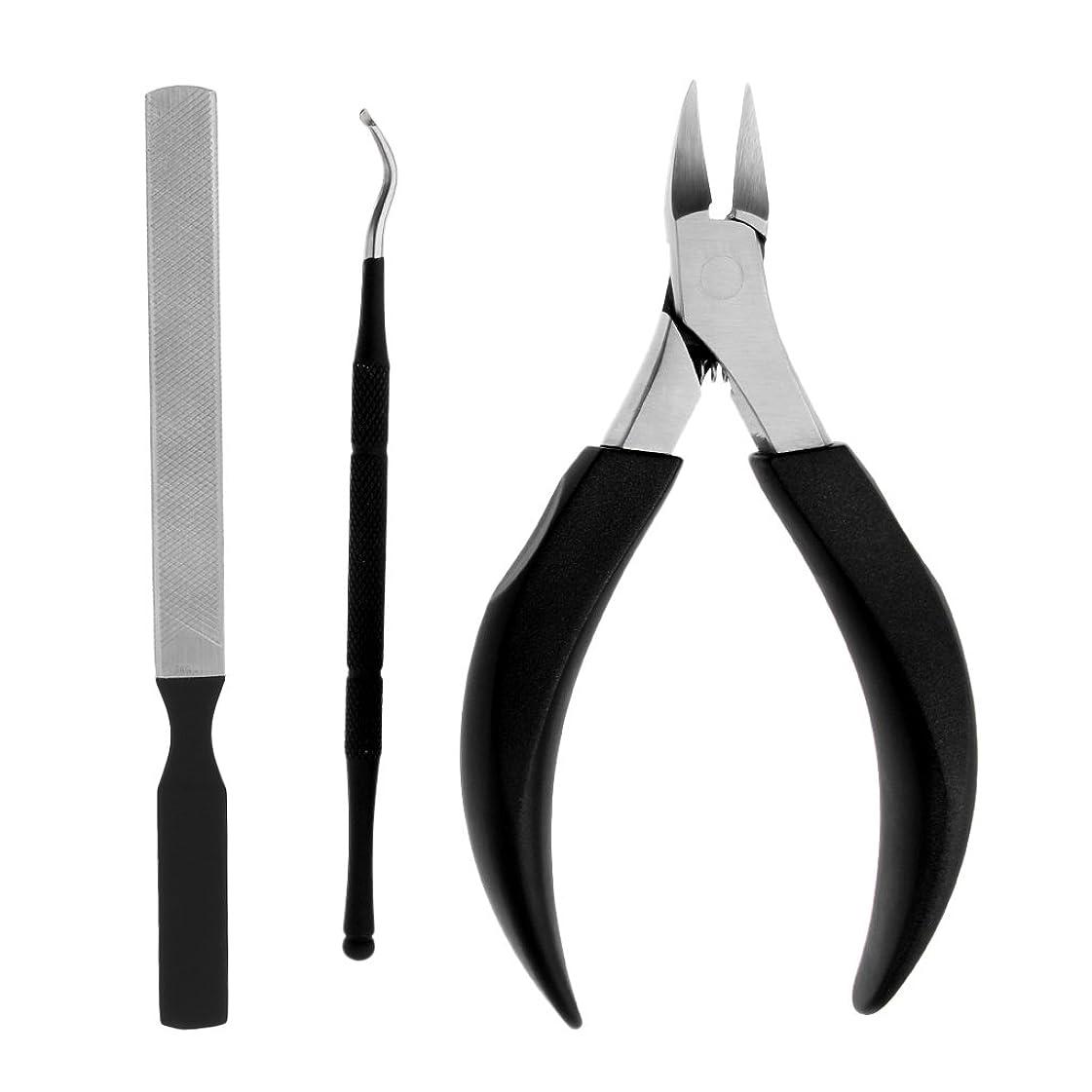 ハードウェア先のことを考える補助金DYNWAVE 厚いまたは内臓足の爪のためのキューティクルニッパーカッタープッシャーネイルクリッパーファイル - ブラック