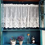 WINYY White Lace Short Curtain for Kitchen Window Jacquard Floral Sheer Curtain Valance for Small Window Rod Pocket Top Tulle 1 Piece (39 Inch Wide, 20 Inch Long)