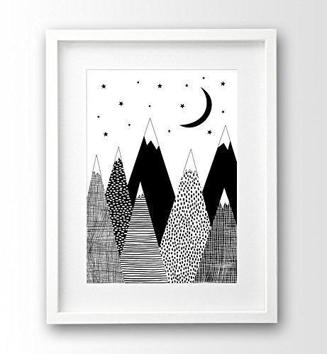 Kinderposter ungerahmt A4, skandinavisch, Berge schwarz weiß
