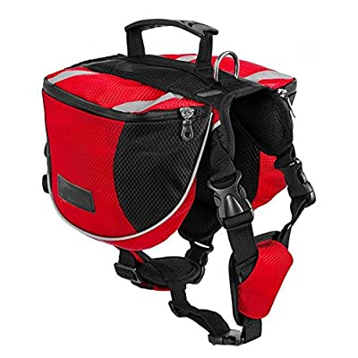 Lifeunion Polyester Dog Saddlebags Pack Hound Travel Camping Hiking Backpack Saddle Bag for Small Medium Large Dogs (Red,M)